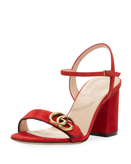 Gucci Marmont Suede Block Heel Sandals RtA4o6