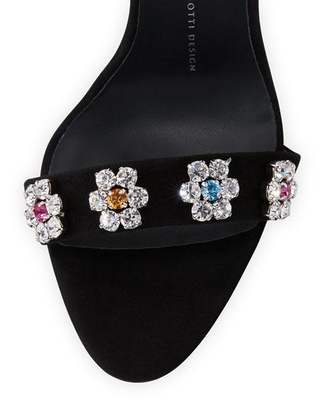 Coline Floral-Crystal 110mm Sandal, Black