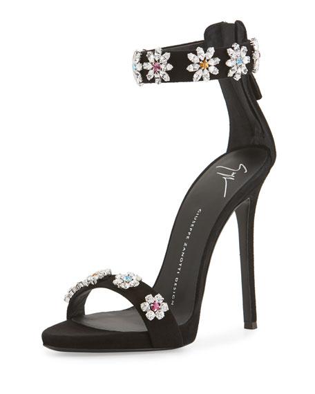 2d875ccc3d6bf Giuseppe Zanotti Coline Floral-Crystal 110mm Sandals, Black
