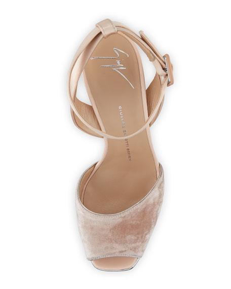 Velvet & Leather Platform Ankle-Wrap Sandal, Cipria