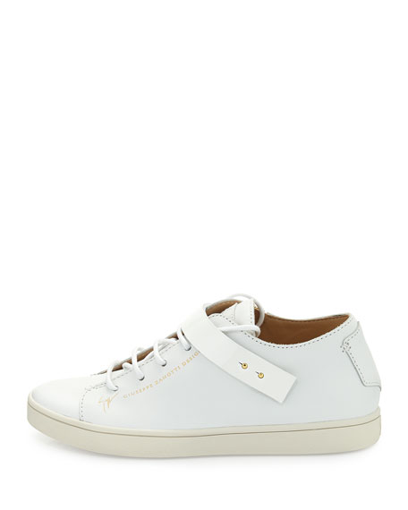 Leather Stud-Strap Sneaker, White (Bianco)