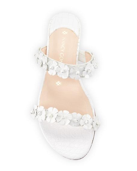 Frida Two-Strap Crocodile Flat Slide Sandal