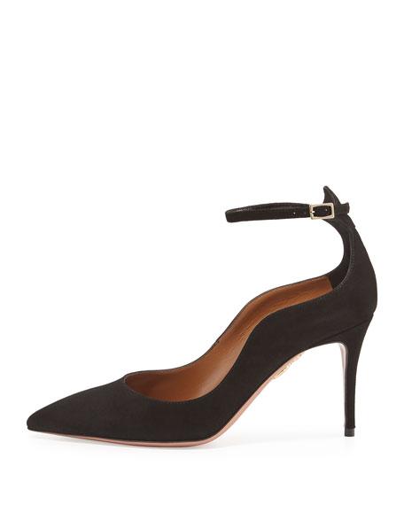 Dolce Vita Suede 85mm Ankle-Strap Pump, Black