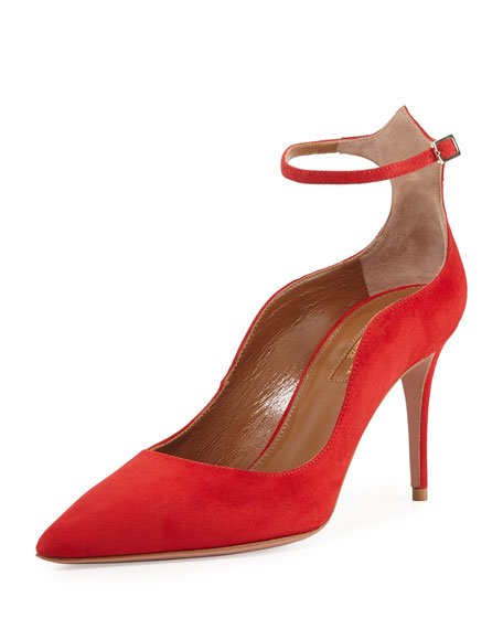 Dolce Vita Suede 85mm Ankle-Strap Pump, Red