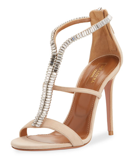 Constance Crystal 105mm Sandal, Nude