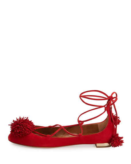 Sunshine Suede Ankle-Wrap Flat, Red
