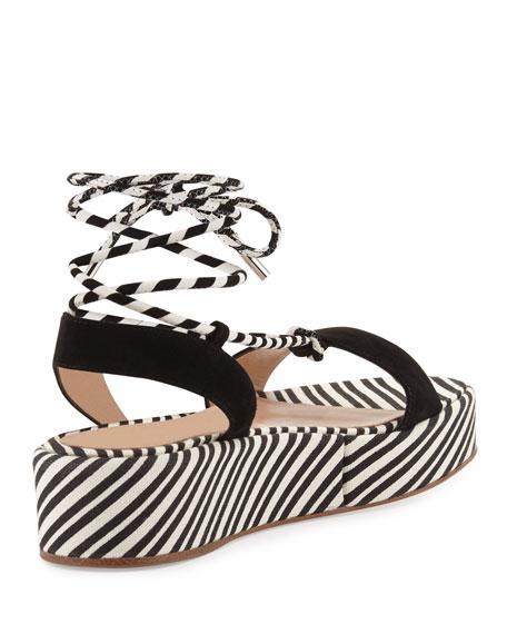 Nautical Striped Platform Sandal, Black