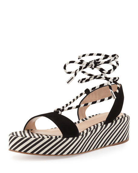 Nautical Striped Platform Sandal, Black