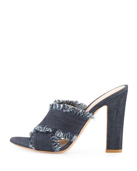 Lela Frayed Denim 105mm Slide Sandal, Navy