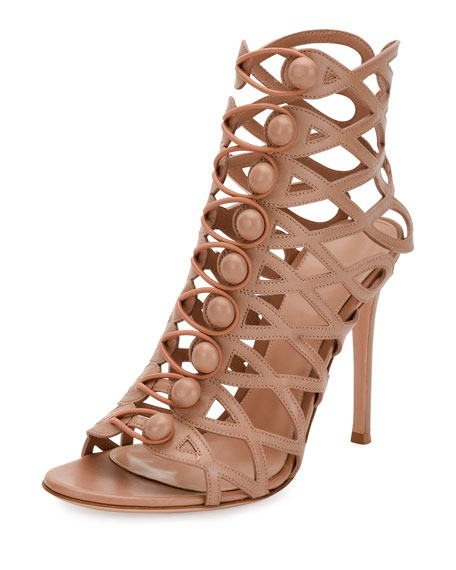 Gianvito Rossi Looped-Button Cage Bootie, Neutral