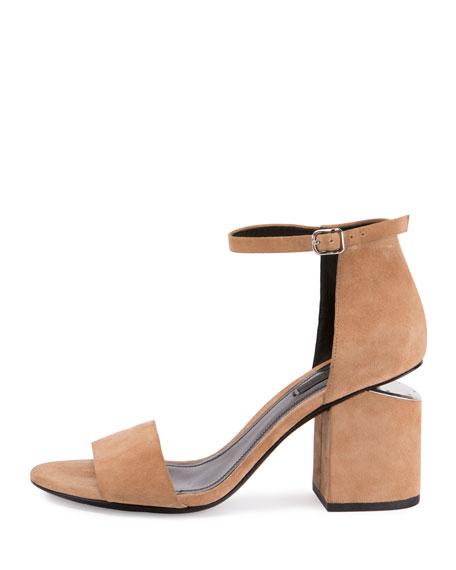 Abby Suede Tilt-Heel City Sandal, Neutral