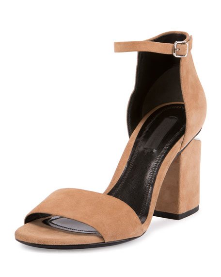 Alexander Wang Abby Suede Tilt-Heel City Sandal, Neutral