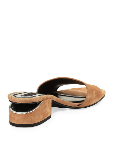 Hollie Suede Block-Heel Mule, Clay