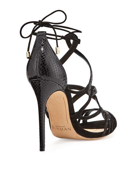 Marina Suede & Python Lace-Up Sandal, Black