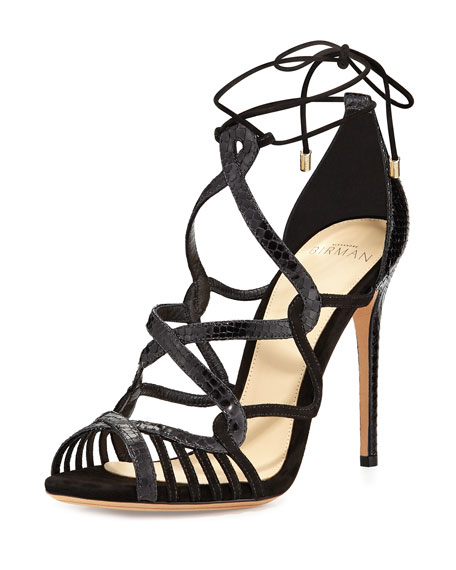 Marina Suede & Python Lace-Up Sandal, Black