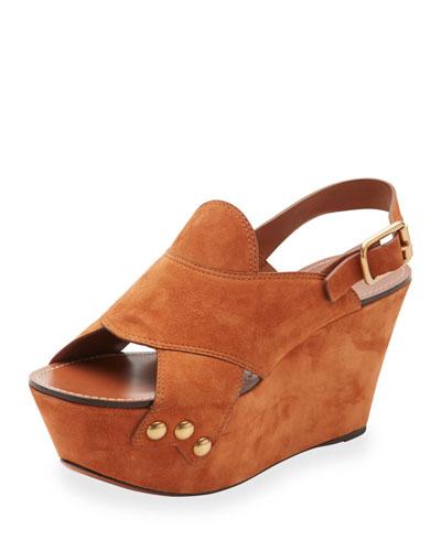 Suede Slingback Platform Sandal