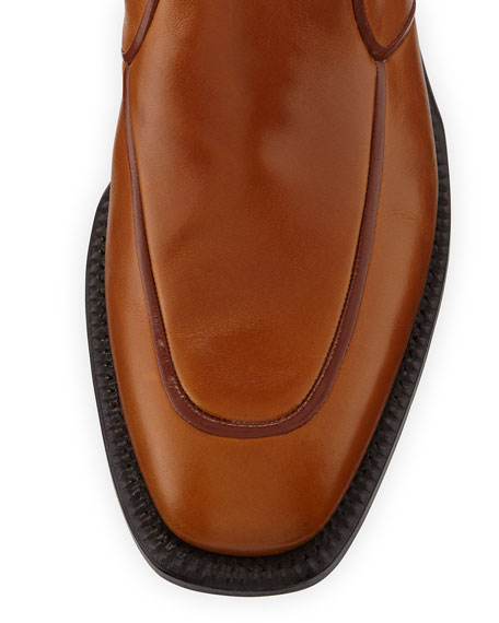 Brando Flat Leather Ankle Boot, Caramel