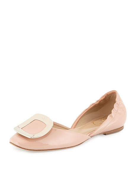 Ballerine Chips Patent D'orsay Flat, Nude by Roger Vivier