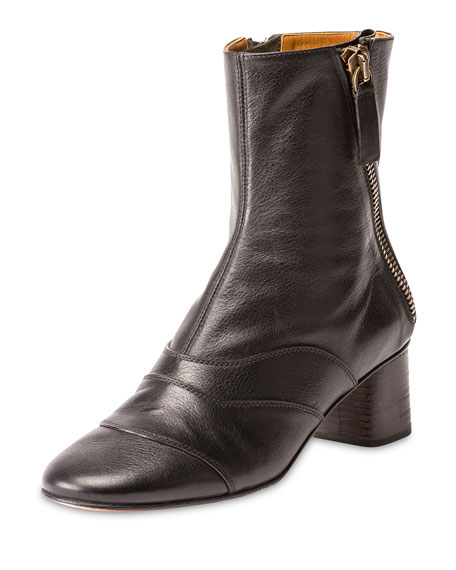 Chloé Leather Zip Ankle Boots low price fee shipping online BKDE4