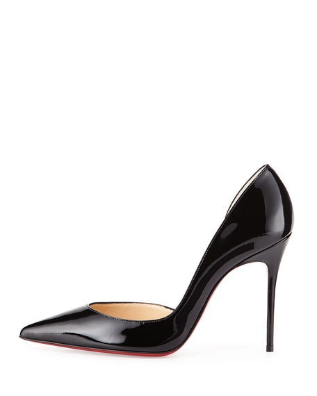 Iriza Patent Half-d'Orsay 100mm Red Sole Pump, Black