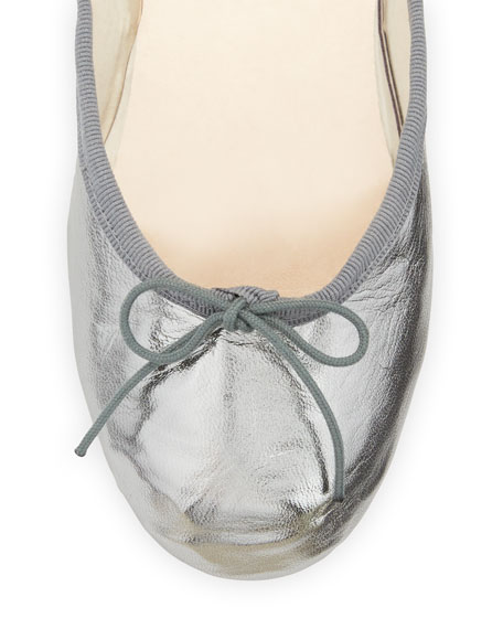 Street Ballerina Ankle-Wrap Flat, Gunmetal