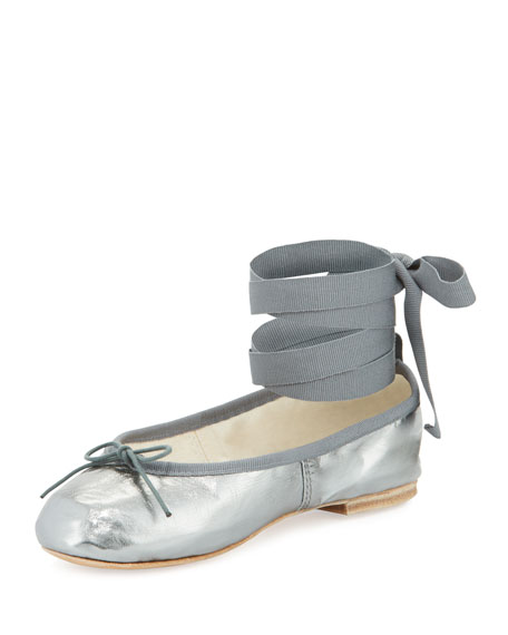 Ballet Beautiful Street Ballerina Ankle-Wrap Flat, Gunmetal