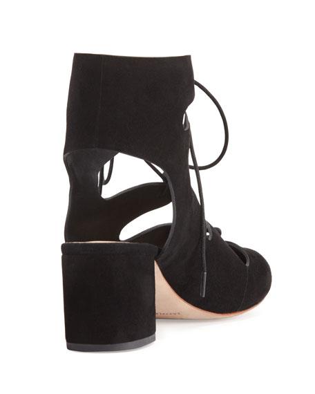 Lexi Caged Suede Block-Heel Pump, Black