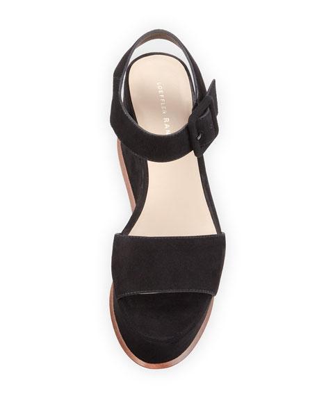 Alessa Suede Platform Wedge Sandal, Black
