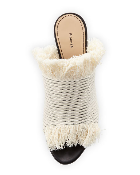 Woven Fringe 70mm Slide Sandal, Ecru