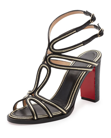 Zenobissima Block-Heel Red Sole Sandal, Platine