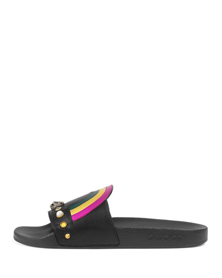 Flat Pursuit Heart & Rainbow Sandal Slide, Black