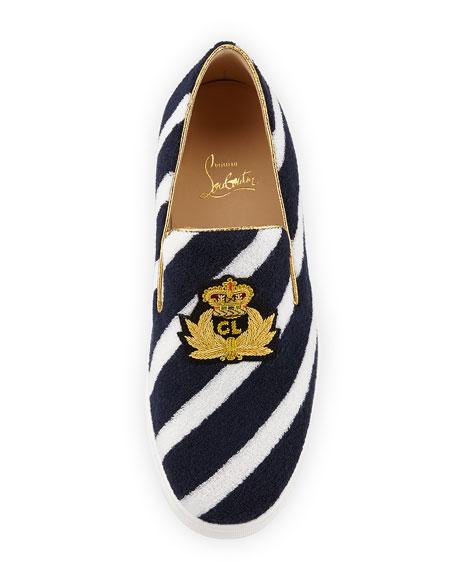 Boat Spa Flat Striped Red Sole Slip-On Sneaker, Navy Blue/White