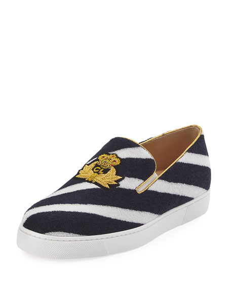 950ca367d59 ... netherlands christian louboutin boat spa flat striped red sole slip on  sneakers navy blue white bc689