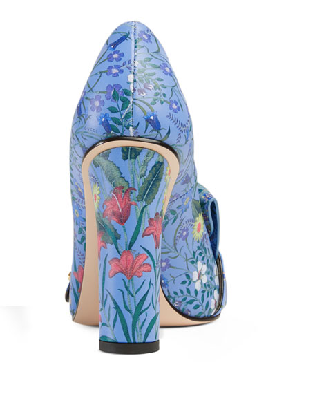 Marmont New Floral Loafer Pump, Blue Pattern