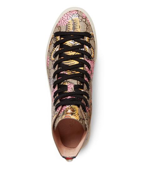 2238700276b Gucci Major High-Top GG Tiger Canvas Sneaker