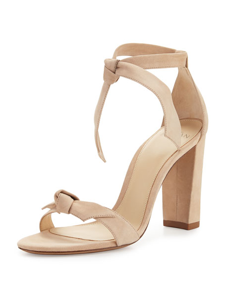 Alexandre Birman Clarita Suede Block Heel Sandals Neutral