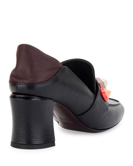 Rainbow Studded Mid-Heel Loafer Pump, Black