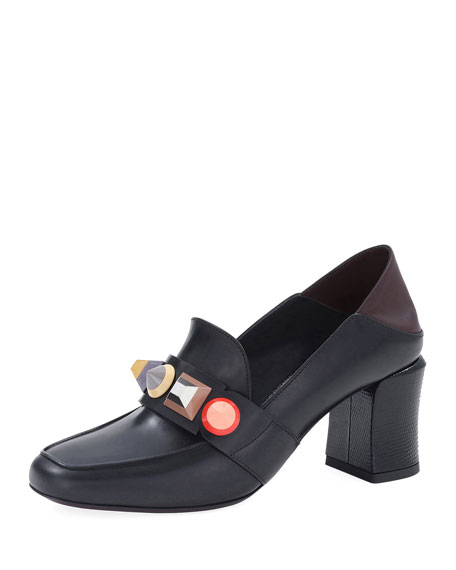 Fendi Rainbow Studded Mid-Heel Loafer Pump, Black