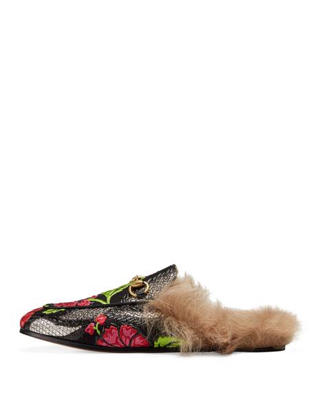 Princetown Fur-Lined Jacquard Mule, Gray