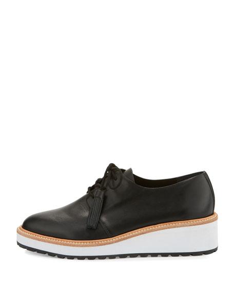 Callie Leather Demi-Wedge Oxford, Black