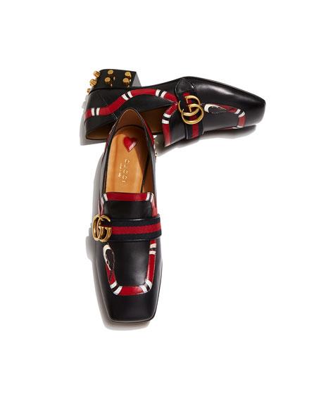 Yoko Leather Snake Loafer, Black