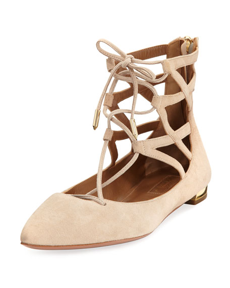 Aquazzura Belgravia Lattice Suede Flat