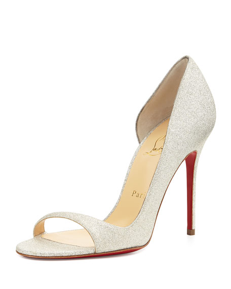 Toboggan Glitter Leather Red Sole Pump, Ivory