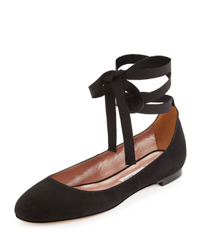 Daria Suede Ankle-Wrap Flat