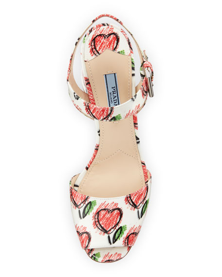 Heart-Print Leather City Sandal, White/Red