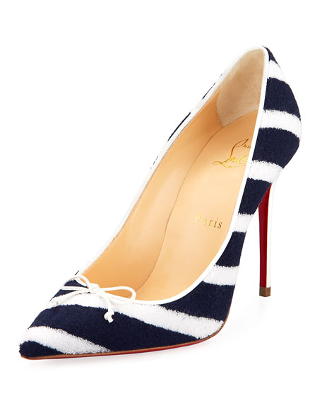 Christian Louboutin Decol Spa Striped Terry Red Sole