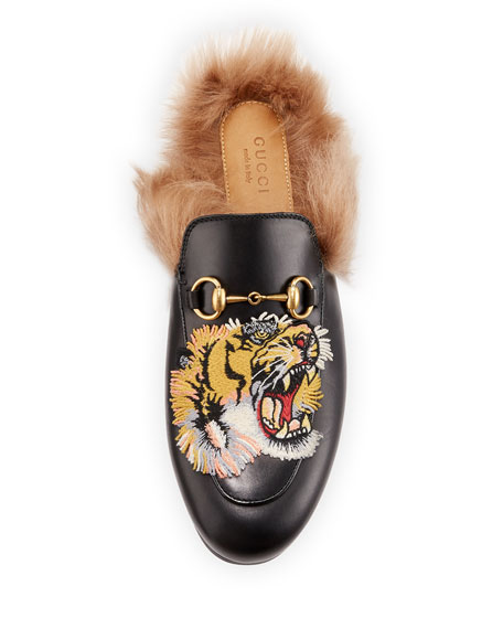 4d453294601 Gucci Princetown Tiger-Embroidered Loafer