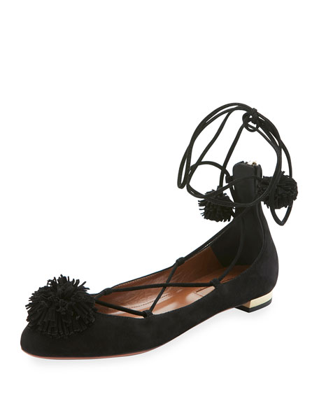 Aquazzura Sunshine Suede Ankle-Wrap Flat, Black