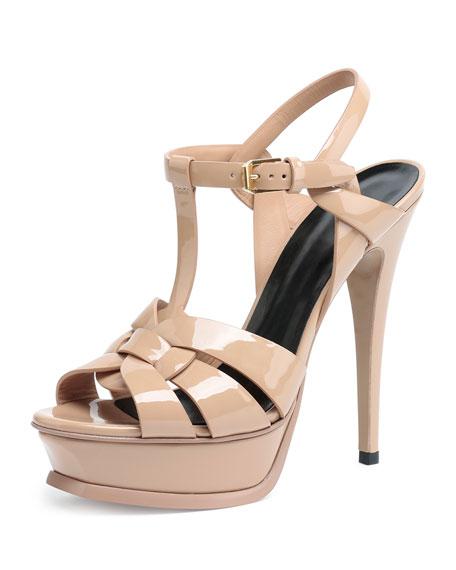 Saint Laurent Tribute Patent Leather Sandal, Poudre