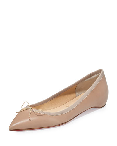 Solasofia Leather Pointed-Toe Red Sole Flat
